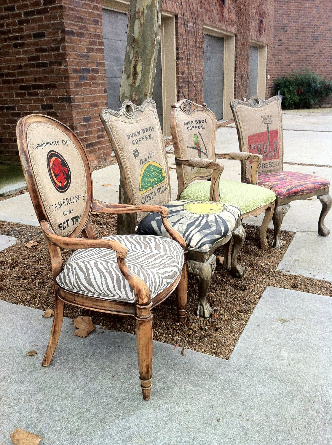 Eclectic Burlap Dining Chairs Set Of 4