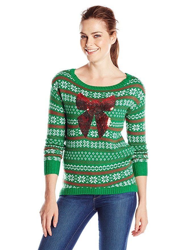 Isabella's Closet Women's Sequin Bow On Fair Isle Ugly Christmas ...