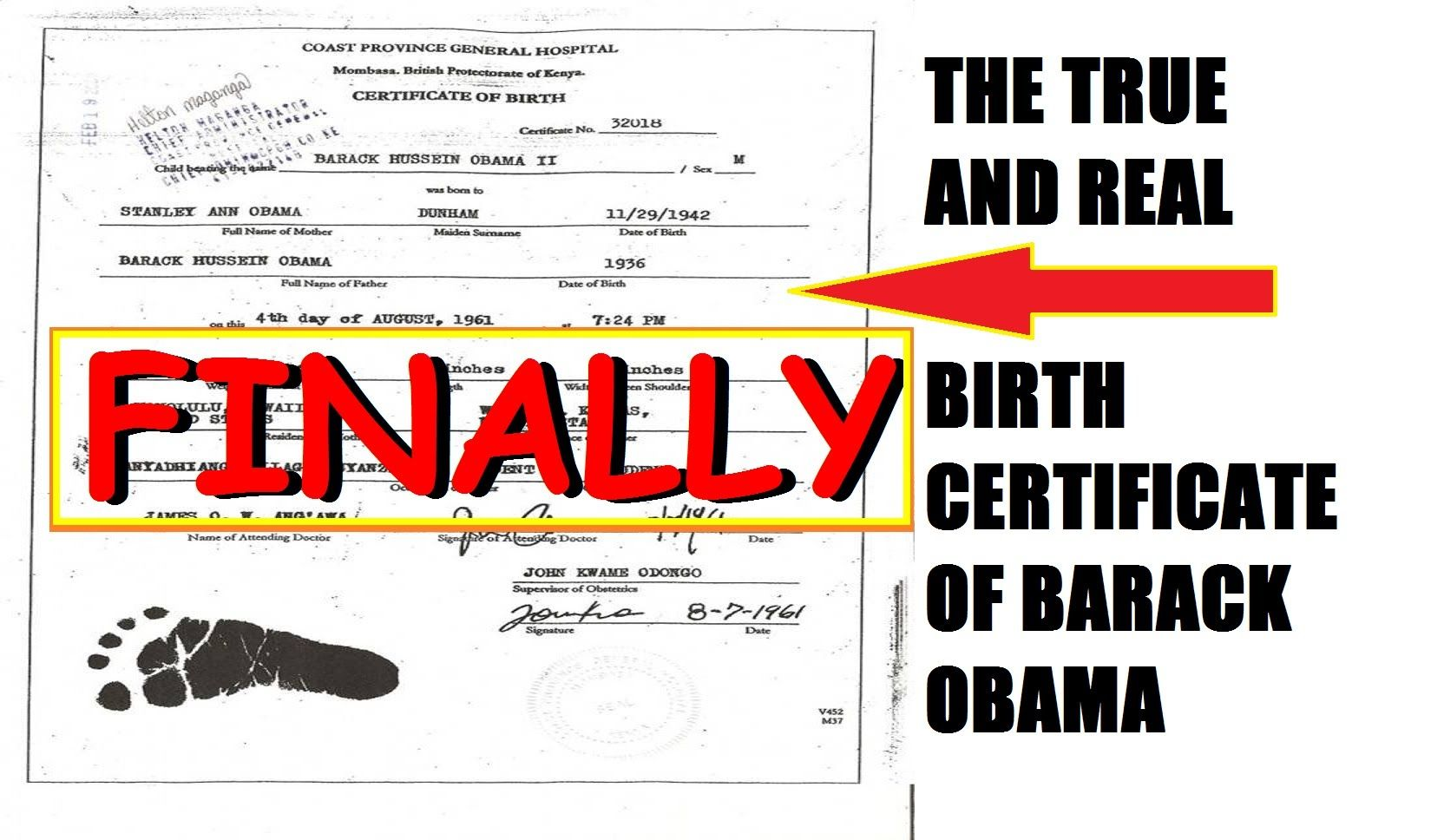 Finally The True And Real Birth Certificate Of Barack Obama