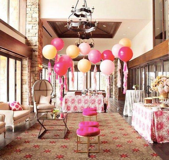 Jumbo-Ballon mit Quastengirlande - Pfirsichballongirlande, rosa Ballongirlande, errötende Partyballons, roségoldene Partyballons