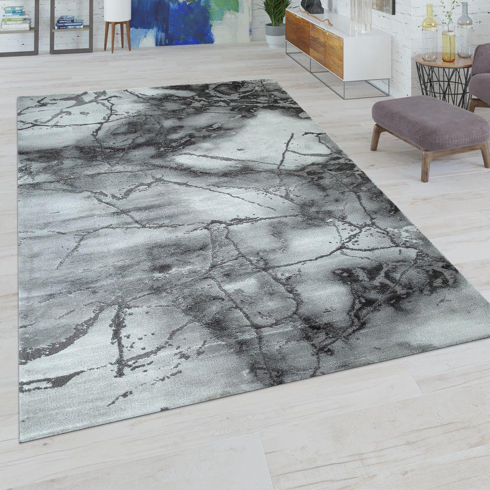 Kurzflor Teppich Abstrakes Muster Grau Weiss In 2020 Kurzflor