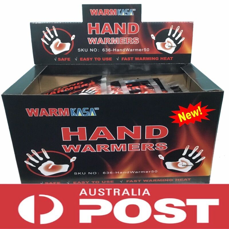 50 Pairs 100 KASA Hand Warmers Pack - 10 Hrs - Safe- Natural - Odorless Warmer Here it is - Genuine KASA Hand Warmers!!Warm the World with KASA. Together with KASA you can enjoy WARM FOREVER!! Don't hibernate, touch KASA WARMERS and enjoy together. KASA Hand warmers can be used by athletes, sportsman, skiers, constructions workers, and anyone who enjoys keeping their hands warm.Features50 Pairs / 100 GENUINE KASA Hand WarmersUpto 10 hours of heat2 Warmers per packSafe & Natural HeatOdourless & E