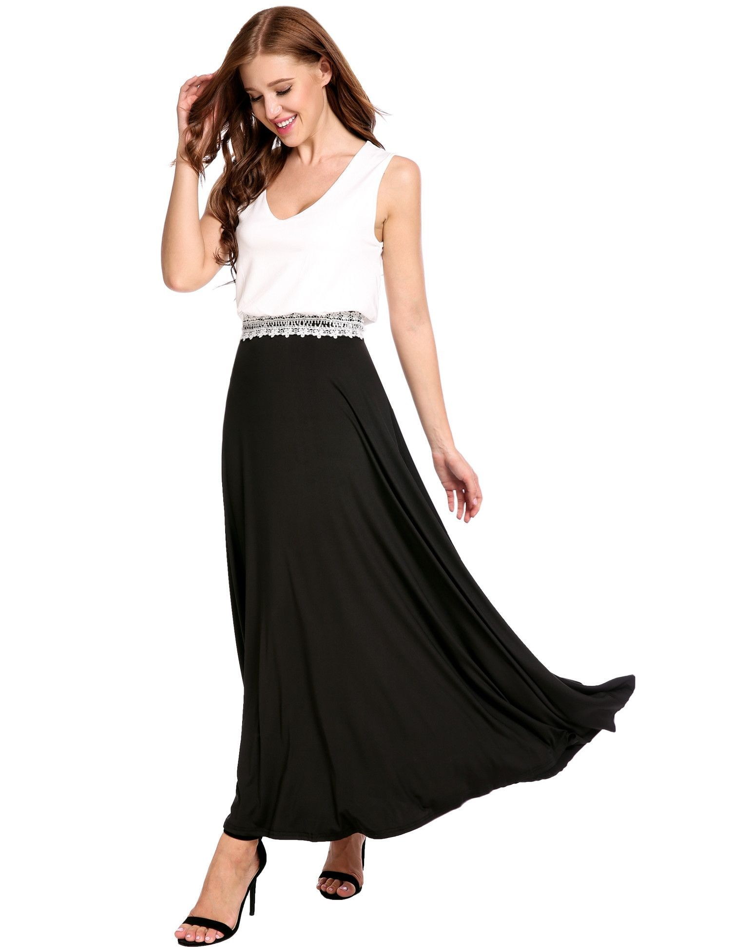 Black V-Neck Double Layers Pleated Tank Patchwork Lace Brim Casual Dress