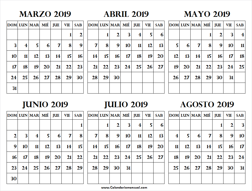 Calendario 2019 Julio Y Agosto.Calendario 2019 Marzo Abril Mayo Junio Julio Agosto March