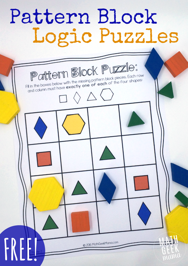 Pattern Block Puzzles Free Math Logic Puzzles Education Math
