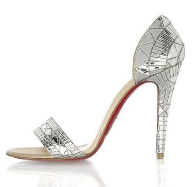 Christian Louboutin Silver Evening Shoes..   Silver ...