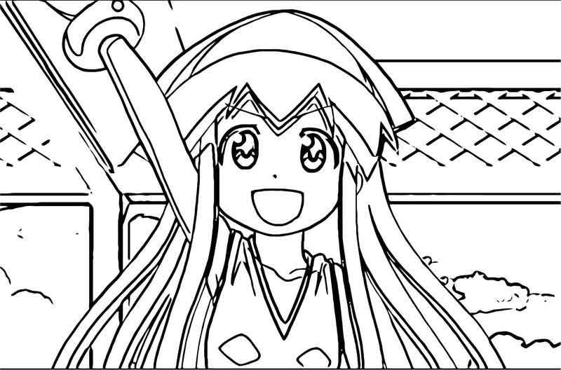 Squid Girl Ika Musume Costume Splatoon Coloring Page Squid Girl