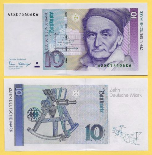 Banknote Germany 10 Deutsche Mark P 38a 1989 Unc Currency Design Bank Notes Money Collection