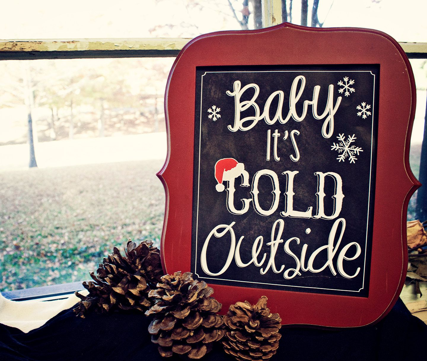 Christmas Chalkboard Sign Baby It S Cold Outside