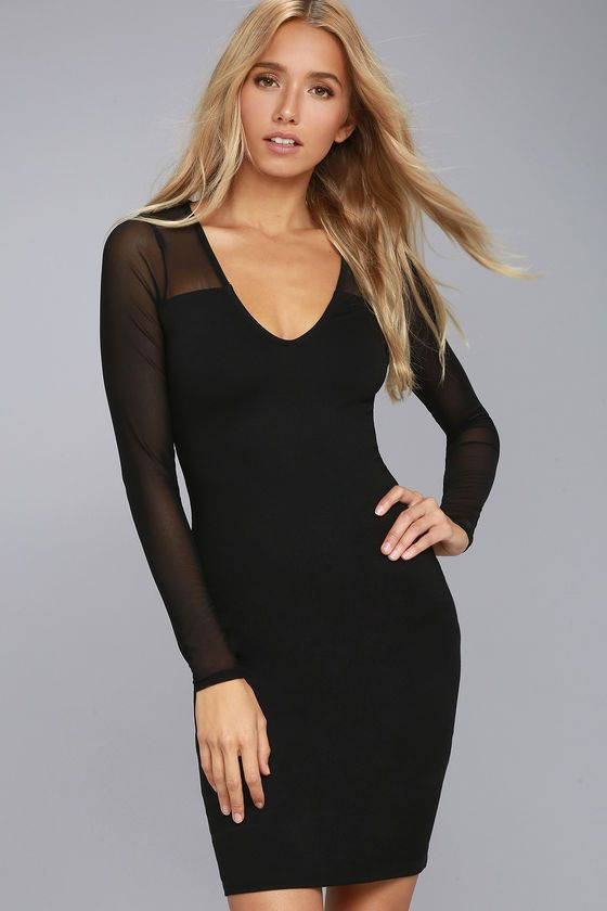 f9306695bfdd Lulus | Parisian Nights Black Mesh Long Sleeve Bodycon Dress | Size ...