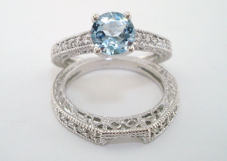 Aquamarine & Diamond Engagement Ring And Wedding
