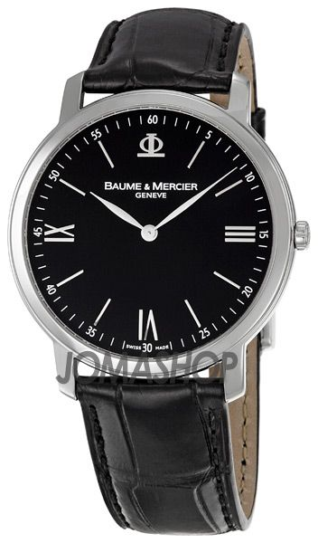 Baume and Mercier Classima Executives Black Leather Bracelet Mens Watch MOA8850
