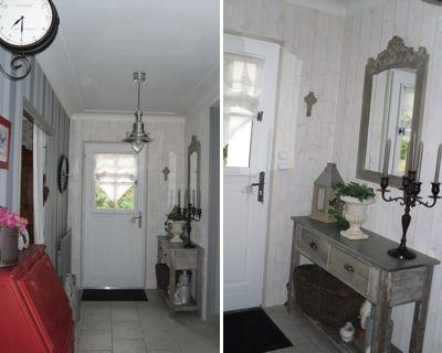 la console patin e et le miroir murs en lambris blancs esprit campagne home sweet home. Black Bedroom Furniture Sets. Home Design Ideas