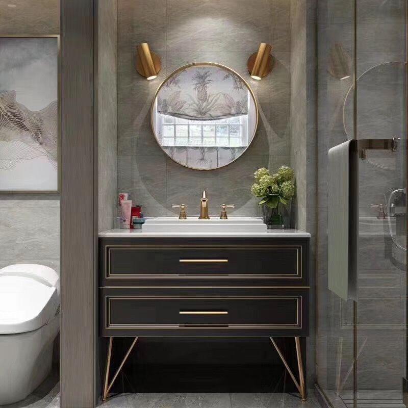 Dark Brown Bathroom Vanity With Golden Round Mirror Bathroom