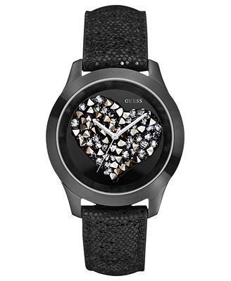 3d229cac439d GUESS Watch, Women's Black Glitter Leather Strap 43mm U0113L4 ...