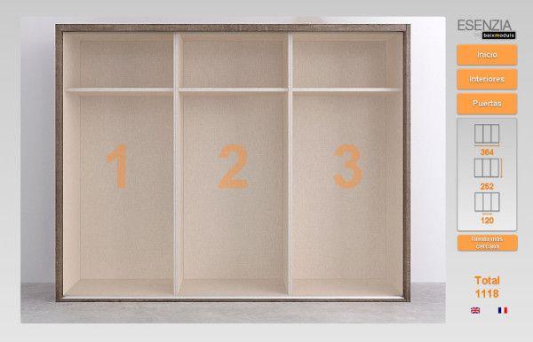Ahora ya tenemos el armario para poder empezar a colocar el interior, escogiendo el hueco nos sale una pantalla con todos los interiores diferentes que tenemos para poder escoger, como podéis ver hay una amplia variedad de interiores diferentes, que pueden variar según la medida del hueco del armario.