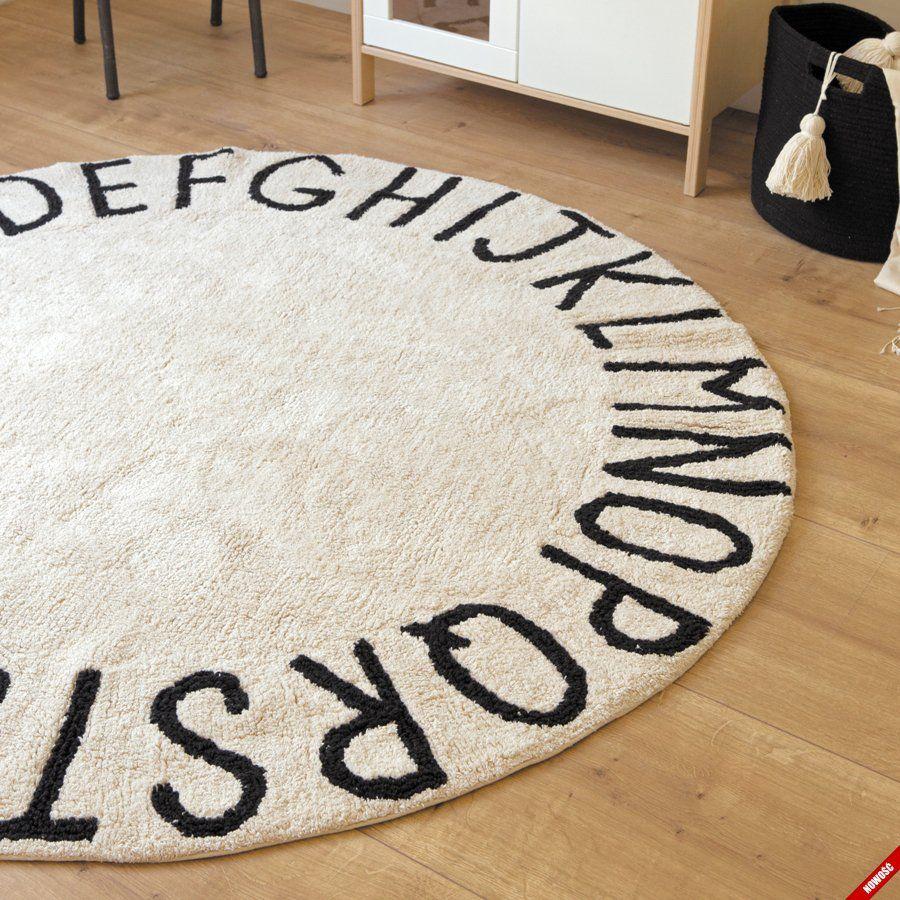 Bawełniany dywan ROUND ABC Natural NieMaJakwDomu