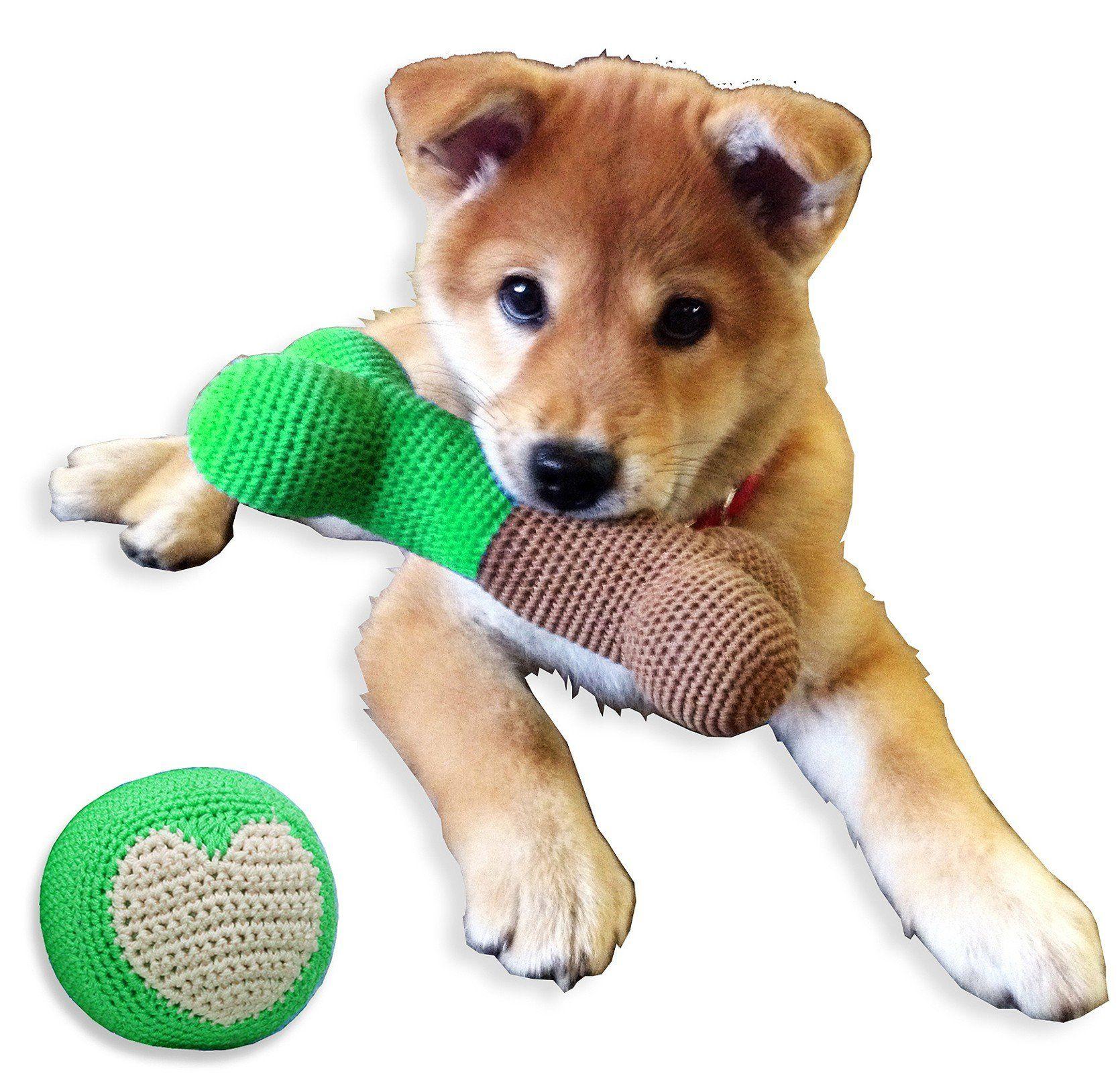 Hip Doggie Plush Dental Dog Toy With Squeaker Crochet Pet Teeth