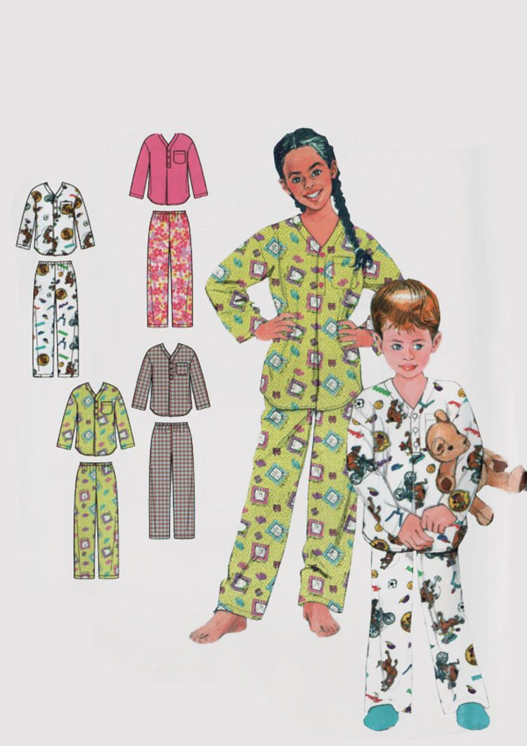 1b54b2a677 Childrens Pajamas Wrap Robe Belt Top and Pants Sewing Pattern Butterick  5856 Size Small - Xlg 4-14 UNCUT by sandritocat on Etsy