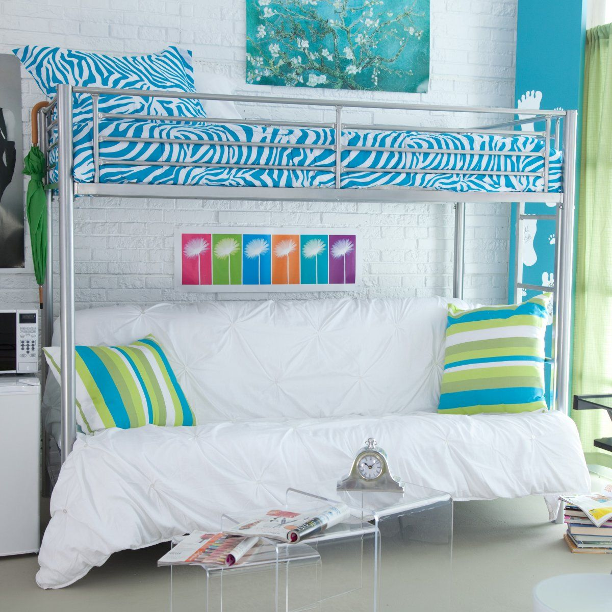 duro wesley twin over futon bunk bed - silver - futon bunk beds at