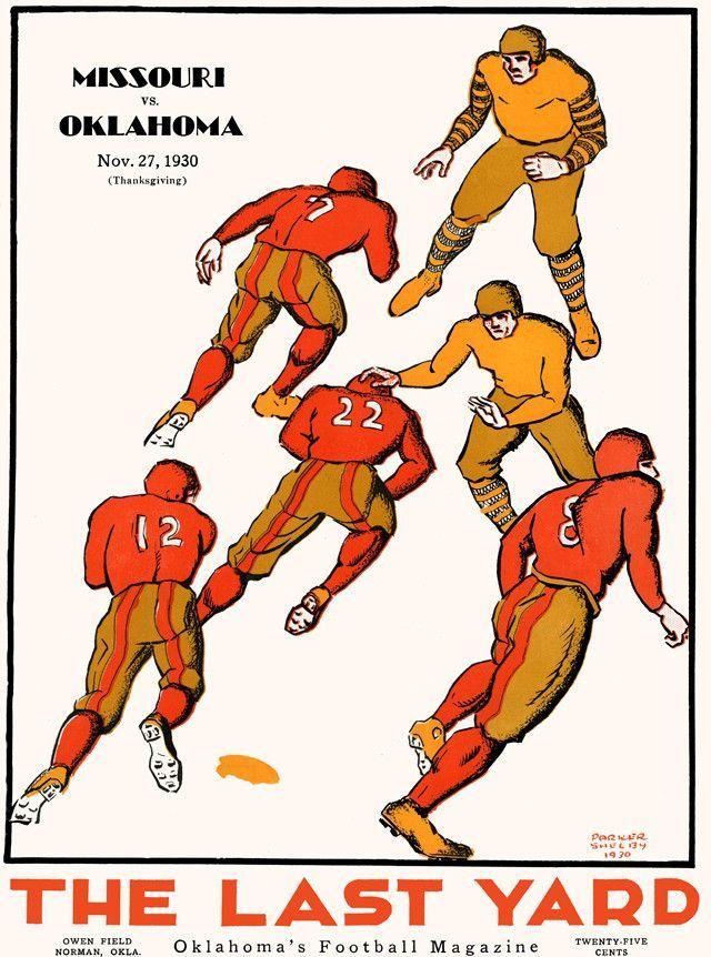 1930 Oklahoma Sooners Vs Missouri Tigers 22 X 30 Canvas Historic Football Poster Football Poster Missouri Tigers School Sports Posters