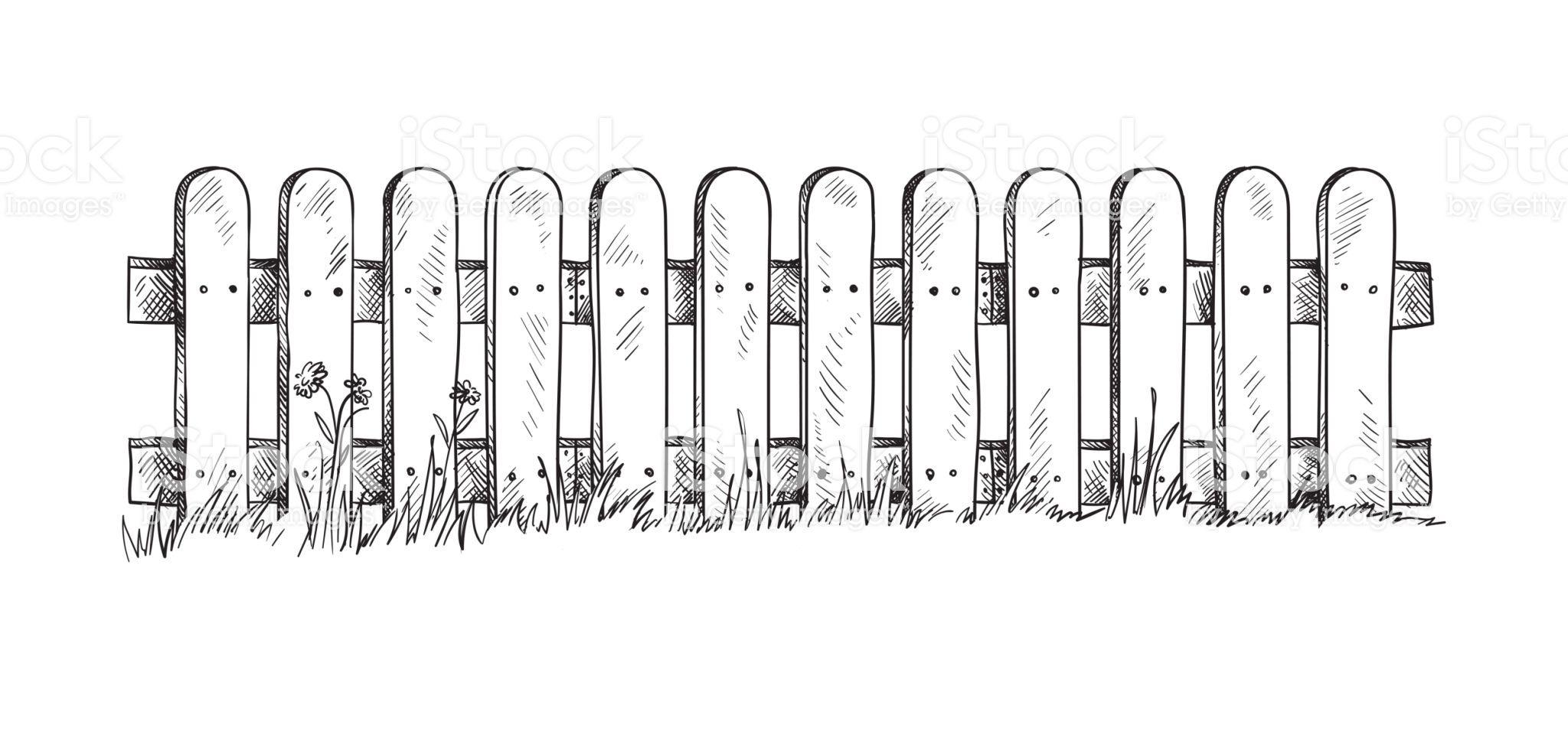 Wooden Sketch Fence Vector Illustration Em 2020 Jardim Desenho