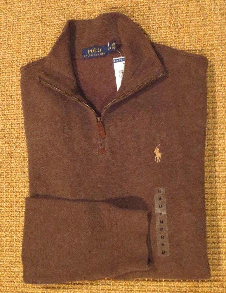 fe7d5864b NEW Polo Ralph Lauren Men s Sweater M Medium Cotton Half Zip Brown  80 Tag   PoloRalphLauren  12Zip
