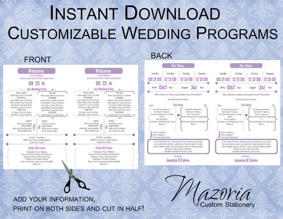 Wedding Program Diy Double Sided Printable Instant Template Lilac Purple