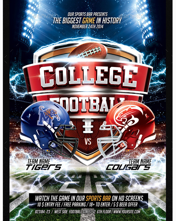 college football flyer party flyer templates for clubs business marketing sports flyer