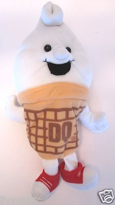 Dairy Queen Ice Cream Collectible DQ Advertising Plush Bean Bag Doll Toy