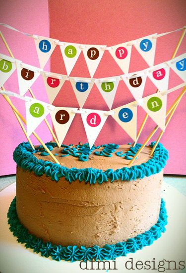 FUN Happy Birthday mini banner CAKE TOPPER by dfmidesigns on Etsy