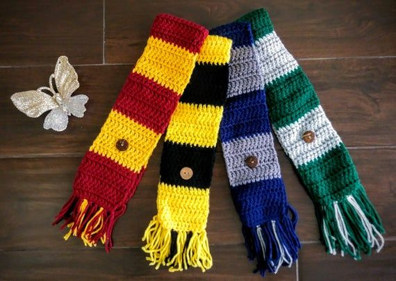 Photo of Pet Team Spirit or Wizard [Harry Potter Inspired] House Scarf Handmade Crocheted