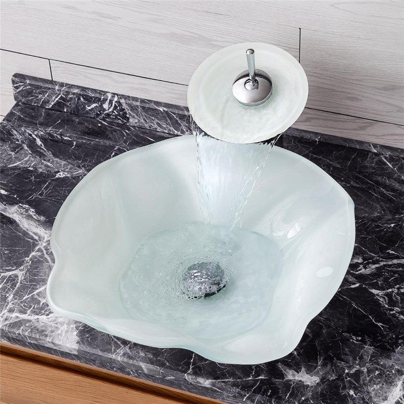 White Sink And Faucet Set Irregular Basin Tempered Glass Bathroom