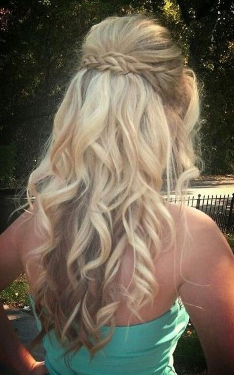 Long curly hairstyles waterfall braid with curls for prom