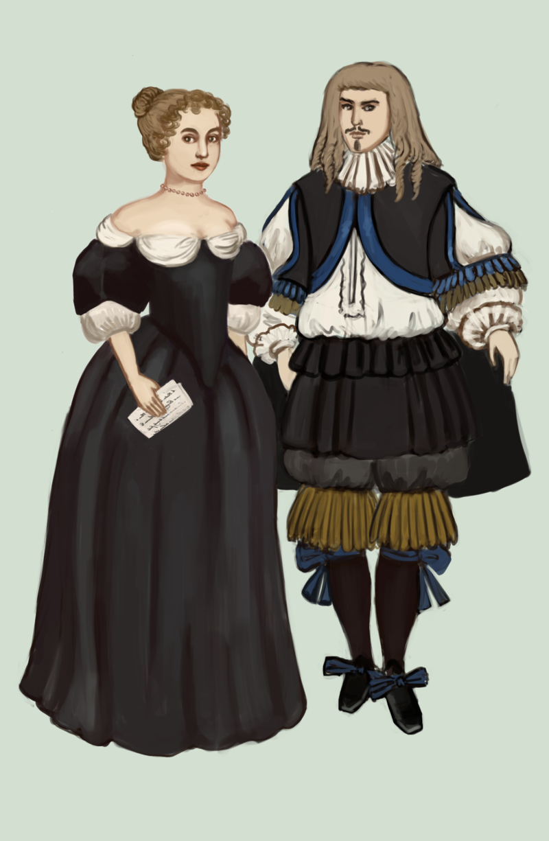 "1660 .:2:. by Tadarida.deviantart.com on @deviantART - From the artist's comments: ""In 1660s dresses have wide necklines, puffy sleeves and long, pointed bodices. And they're really simple in comparision with the clothes of men."""