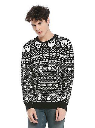 XXX RUDE Skull Fair Isle Knit Sweater, BLACK-WHITE | My Style ...