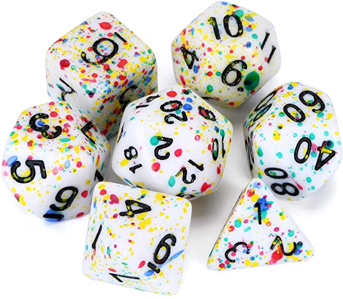 Amazon Com Flashowl Dnd Dice White Spray Dots Dice Sets 7 Colors Dice Sets D D Rpg Dice D20 Dices Set Polyhedral Dice Dnd Dic Dungeons And Dragons Dungeon Dnd