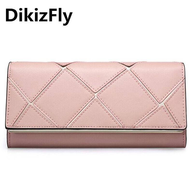 9b61c8d58c52 DikizFly Arrive Genuine Leather Women Wallet Diamond Lattice Purse Brand  Design Clutch Wallets Money Bags Coins