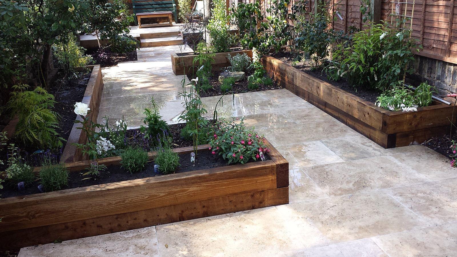 Travertine Paving Patio Garden Wandsworth London Raised Beds Modern  Contemporary Design Low Maintenance (5)