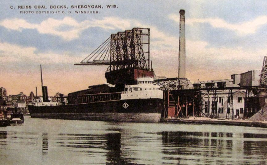 Sheboygan River scene of C. Reiss coal docks   Sheboygan