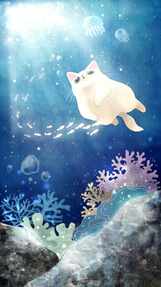 보들캣 바닷속을 헤엄치는 고양이 네이버 블로그 귀여운 예술 고양이 배경화면 고양이 그림