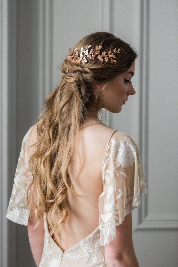 Rose Gold Long Wedding Hair Vine Tiara crown bridal Headpiece Prom