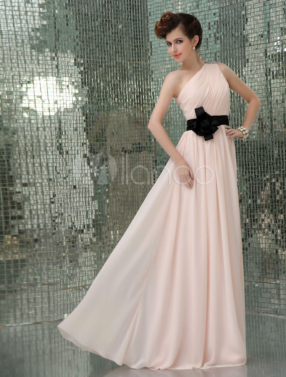Evening wedding guest dresses  OneShoulder Sash Evening Dress Wedding Guest Dress  Bridesmaid