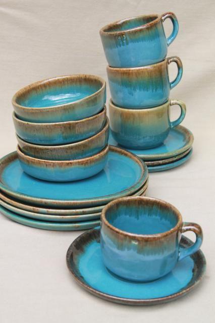 California Rustic vintage stoneware pottery dishes ocean blue w/ copper brown drip glaze & California Rustic vintage stoneware pottery dishes ocean blue w ...