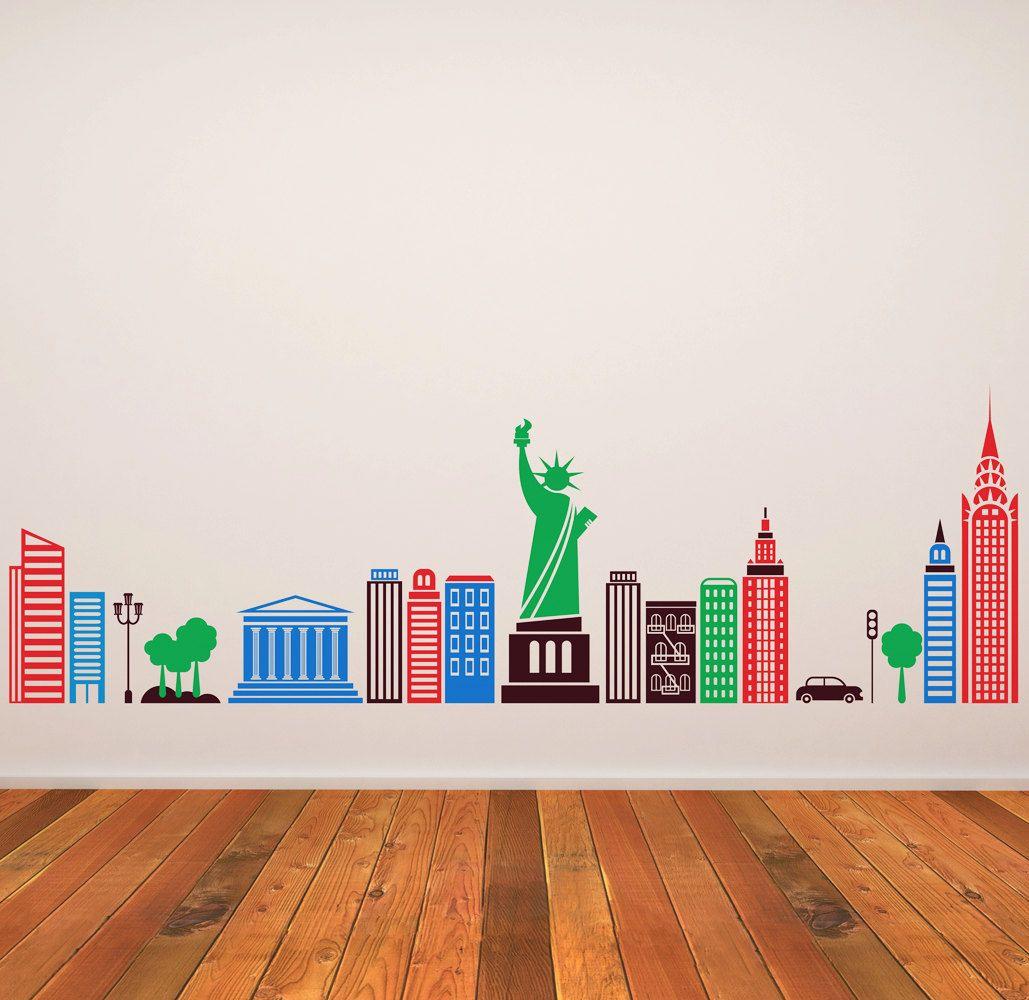 Wall Decal Kids Children Murals New York City Skyline 20 5 X 63 Esty Seller Artoxo 86 00 Colors Can Be Kids Wall Decals Murals For Kids Wall Drawing