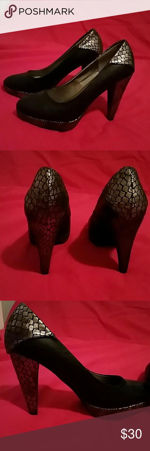 BKE heels Super cute BKE black/silver print heels!! No scuffs!! BKE Shoes Heels
