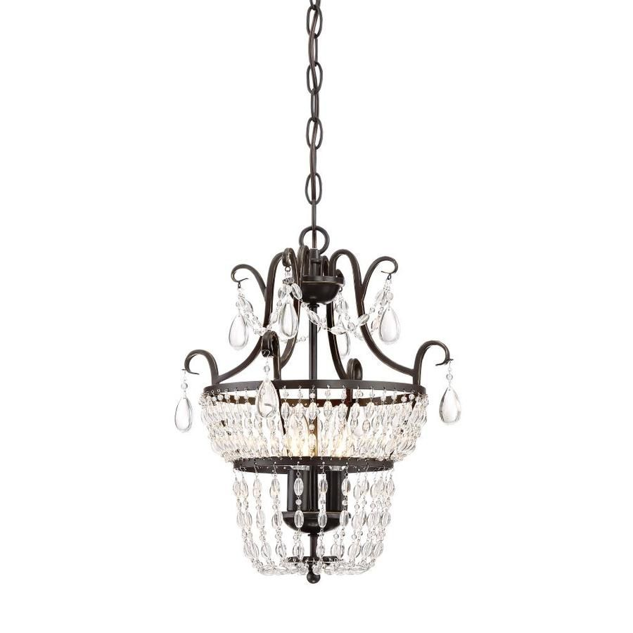 quoizel trista oilrubbed bronze crystal hardwired cage mini chandelier at loweu0027s strands of crystal beads and teardrops adorn this mini