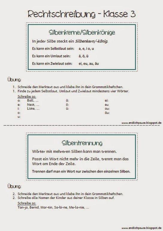 Endlich Pause Sprache Untersuchen Und Rechtschreibung Klasse 3