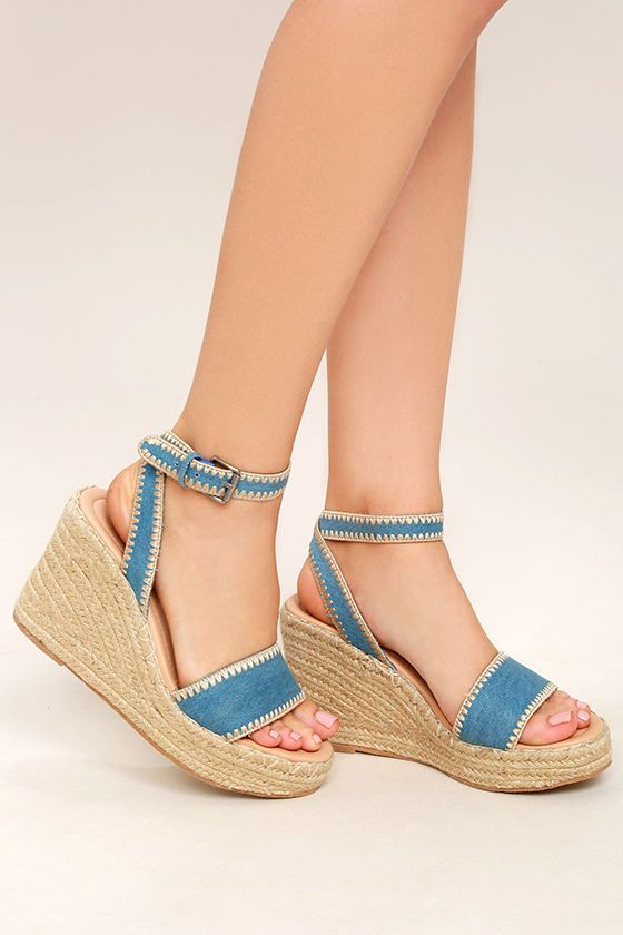 0b6a60ef401 ... Frenchie Light Denim Espadrille Wedges are ready for a trip to  Saint-Tropez! A light blue denim upper