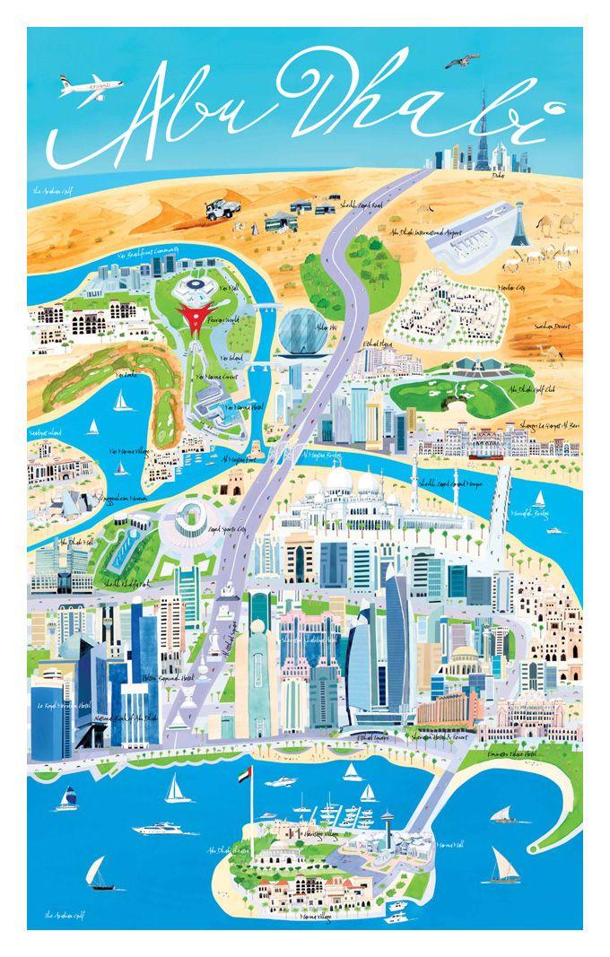 Illustrated Abu Dhabi - Explore the World with Travel Nerd Nici, one - fresh world map building in dubai